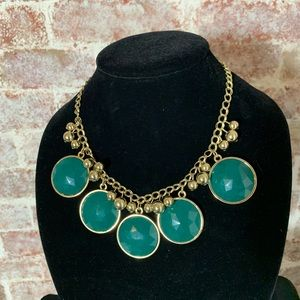 Jade Inspired Costume Bib Necklace with Earrings